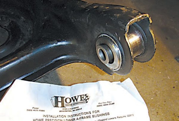 Because the lower A-arms are weight bearing, they tend to transfer more road noise to the chassis than the uppers, so you need to be very cautious about bushing use. Steel lower bushings are available from many circle-track supply houses, but every set I've examined were made to very loose tolerances (rattle-rattle). Howe Precision Series greaseable steel lowers, which use similar technology to their revolutionary ball joints, are an exception to the rule. They are lash-adjustable and lubed internally via greaseable bolts. They require some fitting and welding to install, and they only fit stock arms, but they're an interesting application of new design features. They are also not sealed against dirt or moisture so they're not recommended for street cars.