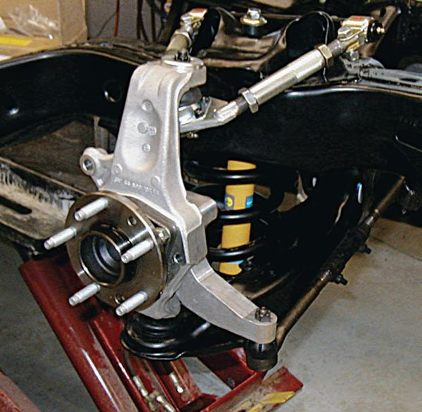 Early on, the ill-conceived B-body spindle swap was the only option for G-body owners looking for better handling. Then, SC&C released the G-5 package in 2003. Based on modified C5 spindles with unique steering arms and Pole Position Racing (now SPC Performance) adjustable upper A-arms, it was a quantum leap forward. Newer systems have come along since, but the G-5 showed what was really possible with this platform. (Photo Courtesy John Follweiler)