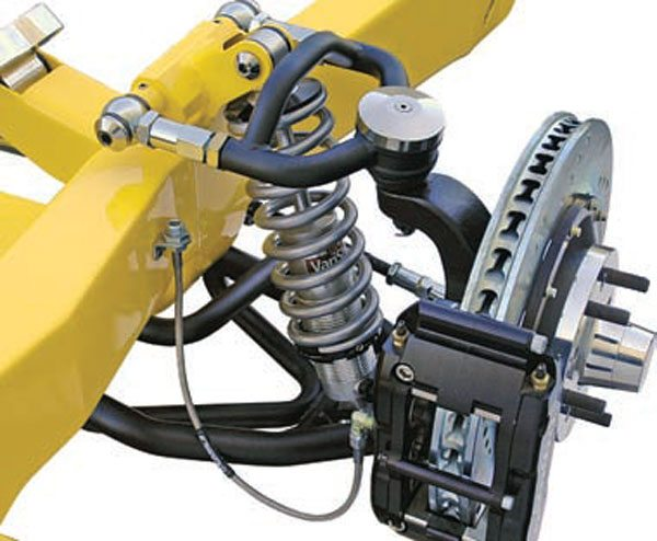 The gStreet subframe from Chassisworks takes a different approach and uses a totally clean sheet design. With four A-arm options, two sway bar options, five coil-over or air spring options, six steering rack options (they're even available in right-hand drive!), four transmission crossmembers, etc., etc., it can be dialed in for anything from a big-block drag car to an LS-powered road race car or a chromed-up show car. (Photo Courtesy Chris Alston's Chassisworks)