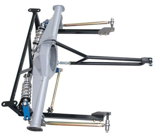 On the more radical side is TCP's cantilevered lay-down coil-over package with torque arms and a Watts link. This is an engineering marvel and looks almost too futuristic for a classic muscle car. It's a proven performer on the road and track. Expect razor-sharp handling and response from this setup. (Photo Courtesy Total Control Products)