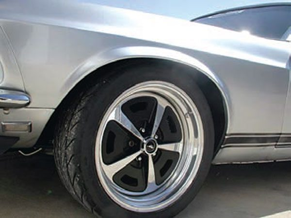 Yet another option. Several companies offer traditional-pattern wheels in larger diameters, machined from lightweight billet aluminum. These are dead ringers for the classic Magnum 500 wheels that were a factory option on everything from Mustangs to Chevelles. The possibilities are endless. (Photo Courtesy RideTech)
