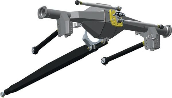 Here is a first look at Chassisworks new torque- arm system for first-generation F-bodies. It's built around a sophisticated Watts linkage with adjustable roll-center height. The trailing arms feature Delrin race greaseable spherical pivots at both ends for smooth articulation. Note the variety of geometry and tuning positions available that allow for different ride heights and uses. (Illustration Courtesy Chris Alston's Chassisworks)