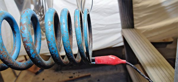 A critically important part of any powder coating kit is the grounding wire. The powder does not stick without the ground wire. Yet it is easy to forget to attach the wire. You can attach the wire to any metal in contact with your part. This works especially well with a dual-voltage gun at the high-voltage setting.