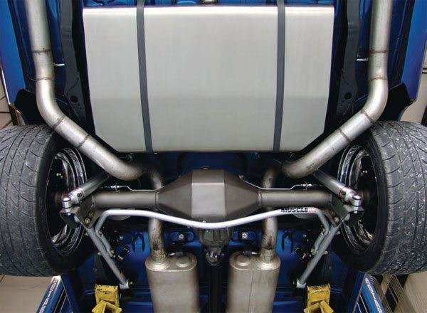 Bars vary in size and rate and sometimes in mounting method. This is the factory mounting format for GM A- and G-body cars. The bar is bolted to the lower trailing arms and has no attachment to the frame. It's easy and the bars can be very inexpensive, but it's not very mechanically efficient. Larger bars are generally required to get sufficient rate. (Photo Courtesy RideTech)