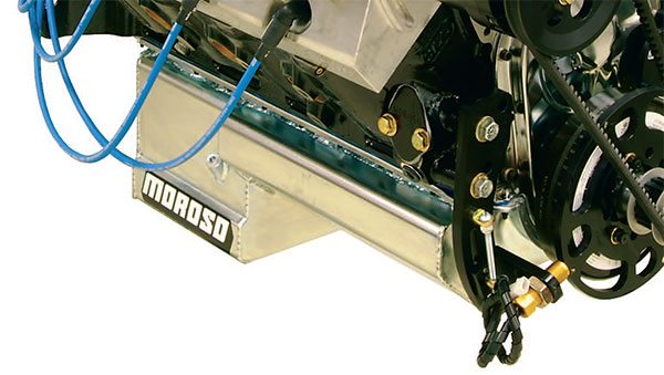 Racing wet sump pans often incorporate an extended kickout section on the passenger side of the engine. It provides an escape route for oil being flung off the crank assembly so it can't rebound off the side of the pan, creat¬ing additional drag. (Courtesy Don Cooper, Reher-Morrison)