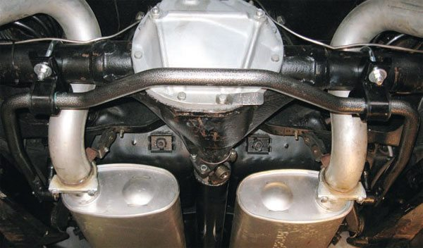 Hellwig's tubular adjustable-rate Pro-Touring rear sway bar installed on a 1966 GM A-body. Note the end links mount to the frame instead of the lower trailing arms, allowing the bar to generate its full potential rate.