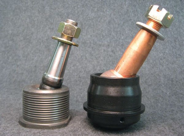 Prior to the development of modular tall ball joints, race car builders often used adjustable-height mono-ball-style ball joints to fine-tune geometry. They work after a fashion but require frequent rebuilding, especially when used as lower ball joints. Another major limitation for street cars: They only have 16 degrees of travel in each direction (versus 32 degrees for conventional and modular ball joints). This effectively cuts wheel travel in half and can cause serious binding issues.