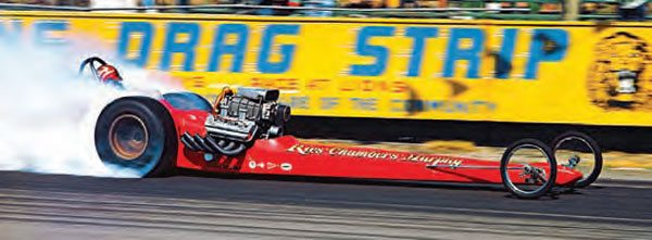 Through the years, drag racing grew by leaps and bounds, with innovative drag cars being debuted at nearly every major event. In the end, the traditional single-engine dragster setup (such as this Ries/Chambers/Murphy example) topped all of the experimental builds until Don Garlits perfected the rear-engine design after his accident at Lions in 1970. (Photo Courtesy Don Gillespie Collection)