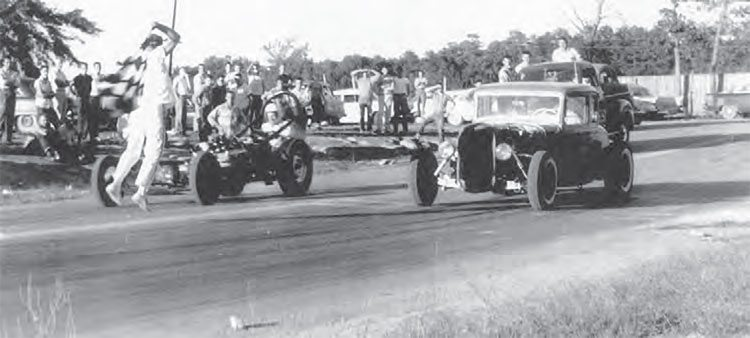 Inadequate traction and the lack of today's safety standards made for some interesting creations from car guys of the 1950s. With every race being a learning experience, the cars and drivers gained speed nearly every time they hit the track, even with limited resources for speed parts. This photo was captured at Brainerd Optimist Drag Strip in Hixson, Tennessee. (Photo Courtesy Larry Rose Collection)