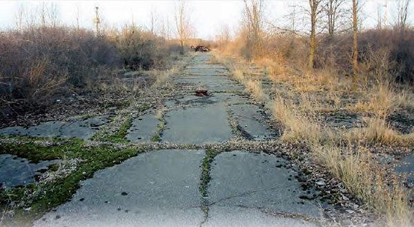 Unlike many of the tracks featured in this book, Motor City Raceway still has most of its buildings. Although in very poor condition, the buildings are still there and the racing surface remains intact. Having closed in 1978, the asphalt is almost completely consumed by weeds. (Photo Courtesy www.waterwinterwonderland.com)