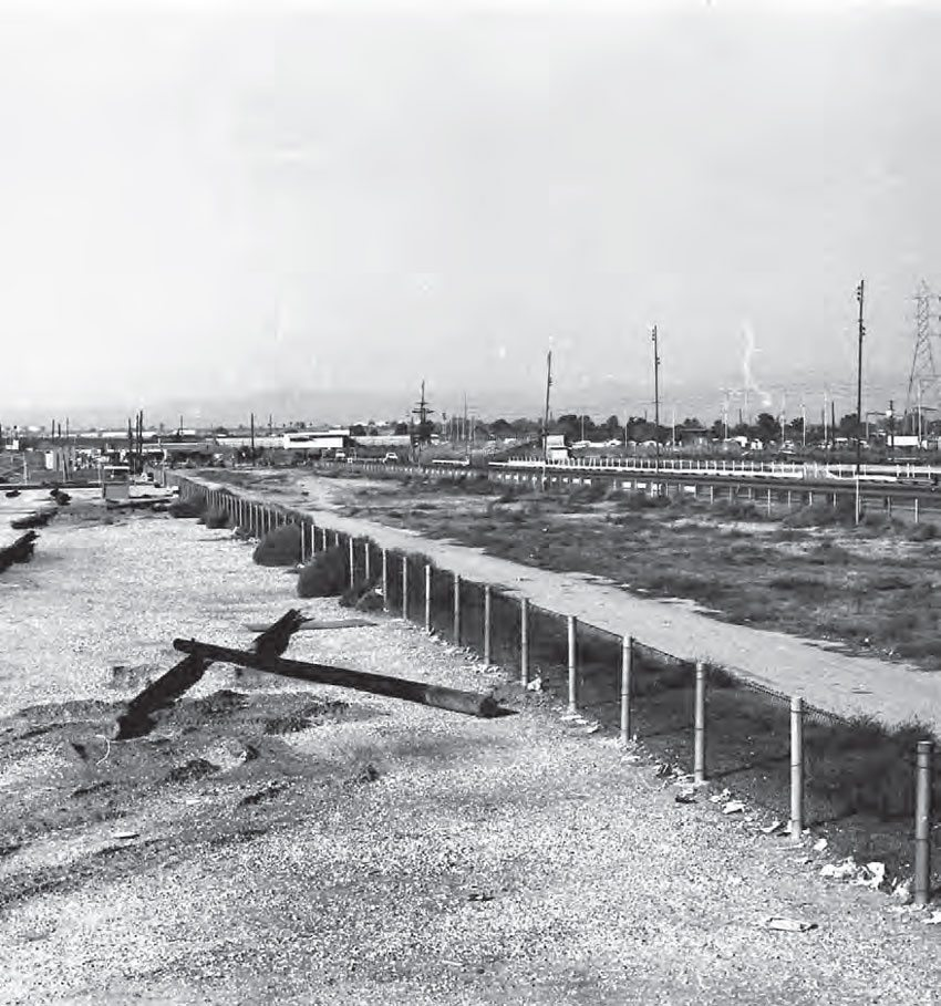 Empty pits and parking lots made for an eerie feeling at Lions Drag Strip shortly after it closed. The property didn't remain vacant for long, as its prime location in Wilmington, just outside of Los Angeles, was a very valuable piece of industrial real estate. (Photo Courtesy Don Gillespie Collection)