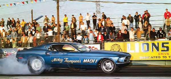 Southern California was the ultimate drag racing hotspot, with several big-time tracks in the vicinity. Moving into the late 1960s, drag racing had evolved greatly thanks to a number of innovative gearheads. Mickey Thompson was one of the best, and this is one of his many drag cars doing its thing at Lions. (Photo Courtesy Don Gillespie Collection)