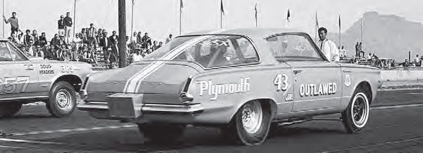 Richard Petty's infamous Barracuda drag car is seen here at the AHRA Winternationals held at Bee Line Dragway in late January 1965. This was the first event that featured a class for cars that pushed the limits of Super Stock. The new Super Stock Experimental evolved into what we now call Funny Cars. (Photo Courtesy John Durand)