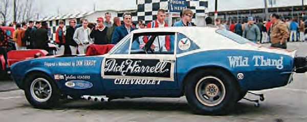 This is an interesting shot of Kelly Chadwick's Camaro funny car, taken in 1967. The Dick Harrell signage is taped onto the door, which means that Harrell's car must have suffered a severe breakage the night before. Harrell borrowed Chadwick's car and made his appearance as promised. (Photo Courtesy Jay S. Magnum)