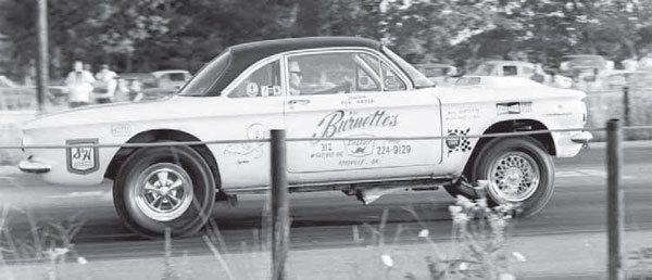 While most folks who jumped on the nostalgia bandwagon might consider this car a gasser because of its appearance, it wasn't allowed in the Gas class. Because of the drastic changes in the Corvair's drivetrain, it was forced to run in the Altered class. (Photo Courtesy Richard McFalls)