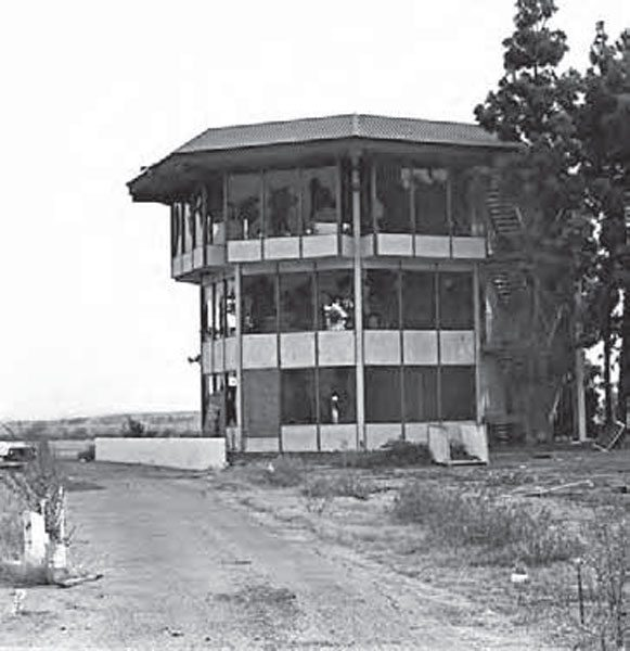 The tower didn't get much respect from the locals, as this photo reveals its broken windows. OCIR sat vacant for a few months while the surrounding land was developed, but this property was far too valuable to remain untouched. It is now filled with buildings, showing no remnants of the legendary track. (Photo Courtesy Don Gillespie Collection)