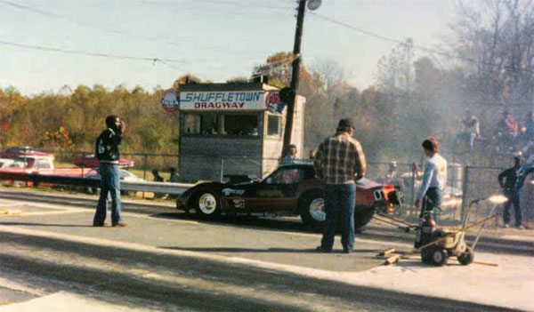 Shuffletown had a great following in the early days, with a number of big events at the narrow and short eighth-mile track. Steel guardrails with wooden posts lined both sides of the track, while a chain-link fence protected spectators but kept them plenty close to the action. (Photo Courtesy Van Abernethy)