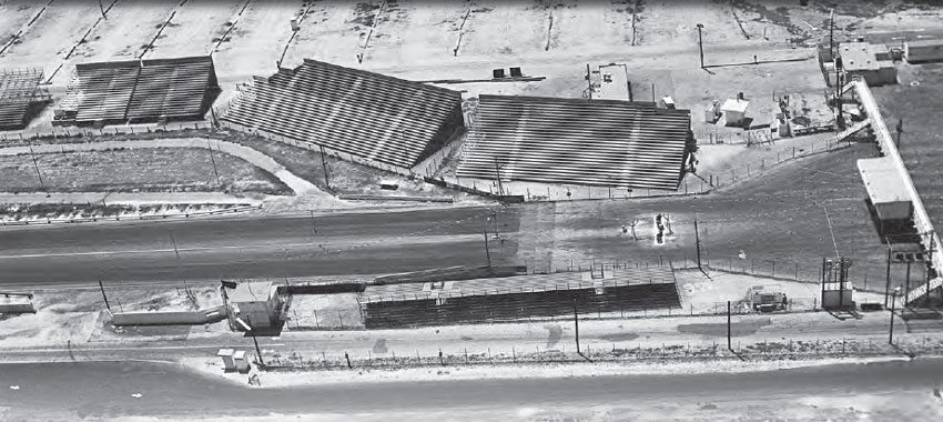 A vintage aerial view of Lions shows its unique seating arrangement, which provided a great view for thousands of spectators at every event. In some areas, the seating was extremely close to the action, making it a thrilling experience for the spectators, while also adding an always-exciting element of danger. (Photo Courtesy Don Gillespie Collection)