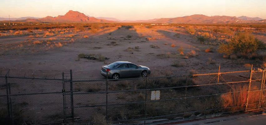 After the Salt River Pima-Maricopa Indian Community revoked the lease on Bee Line Dragway, the property sat vacant. Measures were taken to ensure no one raced on the abandoned strip, which has now disintegrated, due to abuse from the blowing sand and extreme sun. It's a sad sight for these hallowed grounds to be covered with sand. (Photo Courtesy Don Gillespie Collection)
