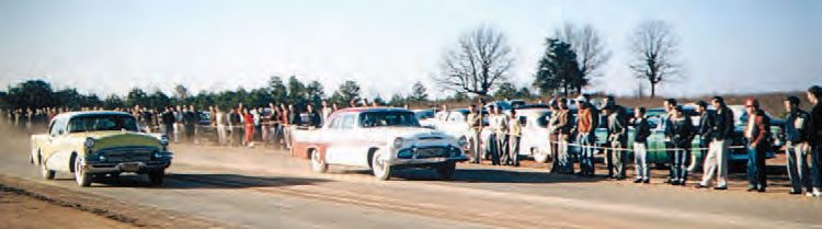 As you can see from this mid-1950s photo, there was no Christmas tree, no guardrails, and no fear. Innovative by nature, these early dragsters were experimental machines, making the level of danger extremely high for drivers, track crew, and spectators. This dragster smokes what is undoubtedly a pair of re-capped slicks. (Photo Courtesy Larry Rose Collection)