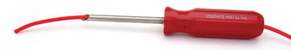 I bought this Thexton grommet tool from the Matco guy back in the day. Notice that the shaft is hollow—push it through a grommet, push your wire through the tool, remove the tool.