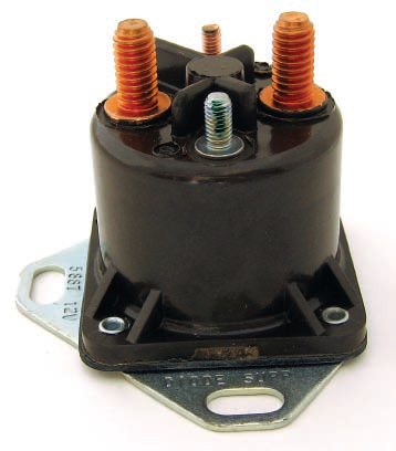 This is your basic Ford starting solenoid. The two silver terminals are for the coil, while the two copper terminals are the connections to the switch itself.