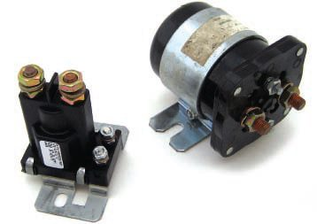 The solenoid on the left is rated for 80 amps, and the one on the right is 200 amps. Both are continuous duty ratings. The terminal configurations are identical to the Ford solenoid.