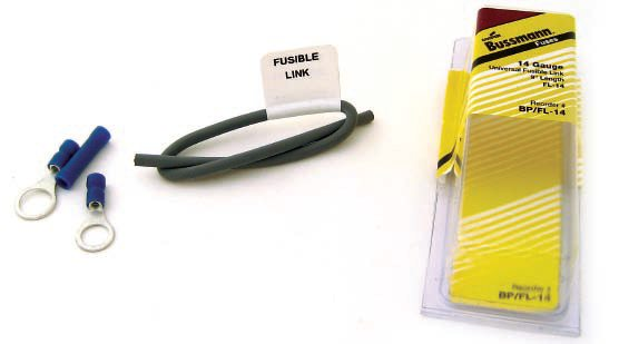 This Bussman 14-gauge fusible link kit is also readily available at your local auto parts store. Fusible links are installed in-line between the source of power and the accessory, no different than a fuse.