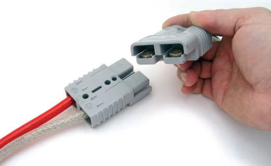 "The Anderson Connector is a functional and practical high-current, quick-disconnect connector, and it's one of my all-time favorites. A pair of very high-current ""pins"" terminates the end of the wiring and then snaps into the plugs. The ferrules of these pins are typically 2 inches long so they allow dual crimps to ensure they won't come off."