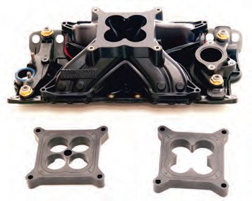 This AFR Titan plastic intake manifold is made for a Chevy small-block. It keeps the intake charge between 20 and 40 degrees F cooler than with a typical aluminum intake. Also it usually works best with one or more of the supplied spacers.