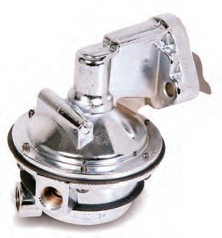 Stock mechanical pumps are generally good for 50 to 80 gallons per hour. By the time installation losses are taken into account, this equates to 375 to 600 hp. This Holley pump, for a small-block Chevy (PN 12-327-13), is good for 130 gallons per hour.