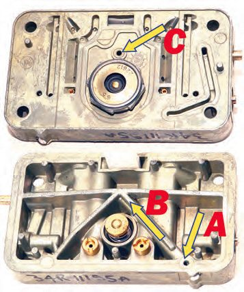 Fuel from the accelerator pump enters the metering block (A), moves through the passage in the casting (B), and into the carb body on the other side of the metering block (C).