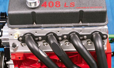 Here's an example of a satin-black ceramic coating on a Hooker header. Note the flat modification on one tube, which was done to accommodate a clearance issue. This header is designed to swap a GM LS engine into a 1955–1957 Chevy