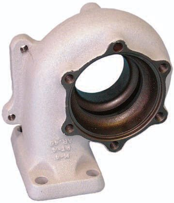 An alternative to a thermal wrap is to have the turbocharger housing coated with a high-temperature ceramic thermal barrier. (Photo Courtesy Swain Tech Coatings)