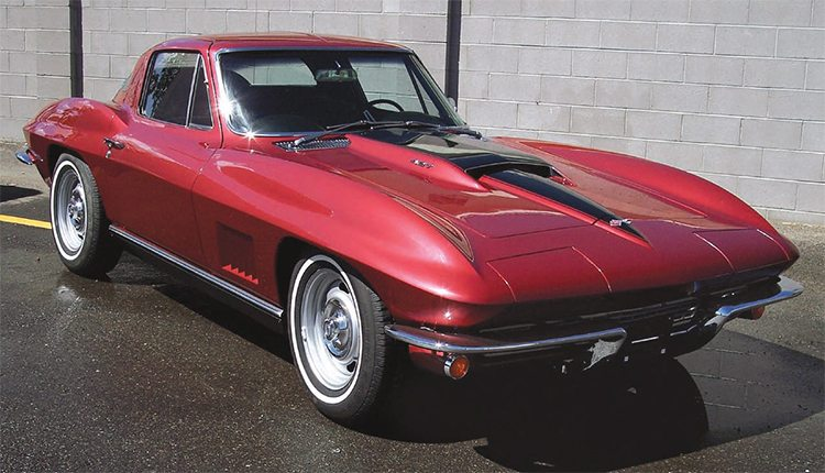 "The example for our complete paint job is a semi-rare 427 big-block, 4-speed, '67 Stingray Corvette that was essentially restored, but got painted a previous-year Milano Maroon instead of the correct Marlboro Maroon. John Harvey, who does custom bodywork and painting on a limited basis in a large shop he has built on his property South of Albuquerque, New Mexico, was therefore given the job of completely repainting a car that was already painted and ""finished"" by someone else. This is how it looked after he repainted it in the correct color."