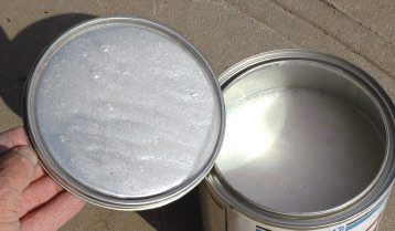"""Looking at what's in the can is much more fun than looking at the outside. This is white pearl, which gave the paint its name. In the old days you made it by mixing powder in clear lacquer. Today you can get it pre-mixed in a variety of translucent hues (besides white). A 3-stage paint, this dull-drying """"base coat"""" must be sprayed over a similar, but solid, base color, then top coated with glossy clear, which can be rubbed out or left as is."""