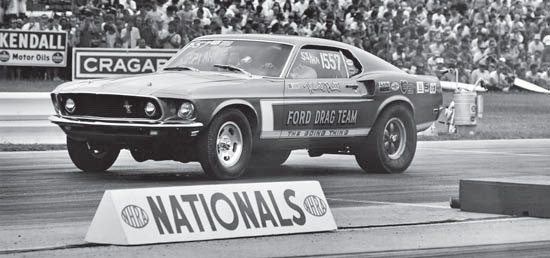 The SS/HA Mustang was powered by a 428 Cobra Jet that Hubert drove to a class win at the 1969 NHRA Winternationals. Seen here at the later Nationals, Georgia Shaker failed to repeat. (Photo Courtesy Jerry Heasley)