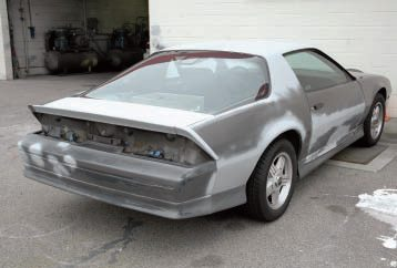 You could do even more sanding and parts-removal if you wanted, but this is how Steve's car entered the shop.