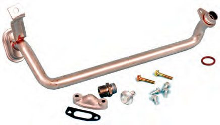A crank-driven oil pump likely has a lone pickup tube that is necessitated by the location of a rear-pan sump. This type of pump has a pickup tube that bolts to the pump and is sealed with an O-ring, so no interference fitting or welding is needed.