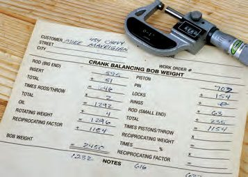 A sample bobweight card. This provides the technician with the necessary information to create the bobweights. This information should be kept on file in case this assembly requires service in the future.