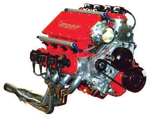 This Chevrolet LS6 engine tops the 750-hp mark at 7,400 rpm and features an 11- inch runner.