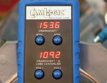 The digital display unit constantly monitors crank angle (top display) and camshaft lobe position (lower display). Using this system is surprisingly simple and quicker than using a degree wheel.
