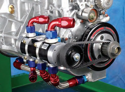 Dry sump pumps have a series of individual pumps stacked together. These individual pumps are referred to as stages. Pumps are available in two-, three-, four-stage, etc., depending on how many individual oil feed and scavenge lines are required for a particular engine.