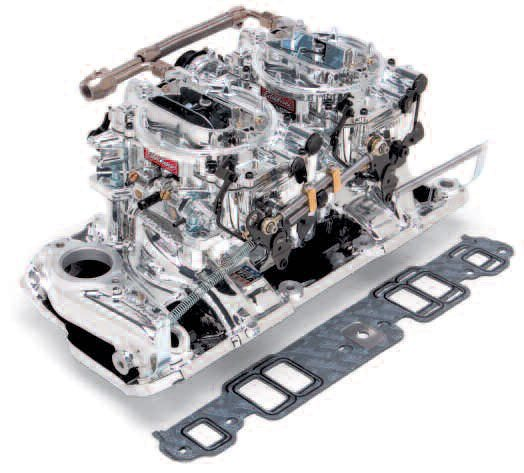 This 2x4 setup from Edelbrock looks like a lot of carburetion for a typical 350-ci small-block Chevy, but this proves not to be the case. First, a two-plane intake is used. This means that each cylinder sees only one of the two carbs. Also, the air-on-demand secondaries ensure sufficient velocity through the primaries until the engine needs the secondary flow.