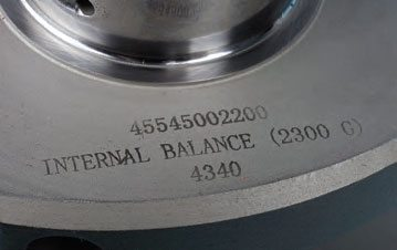 Aftermarket performance cranks are commonly laser-etched with important information. This Scat crank is labeled for internal balance. The forged crank is also identified as being made from 4340 steel. The top number in this example (45545002200) indicates that the application is for a Pontiac 455, the stroke is 4.500 inches, and the rod journals are 2.200 inches in diameter.