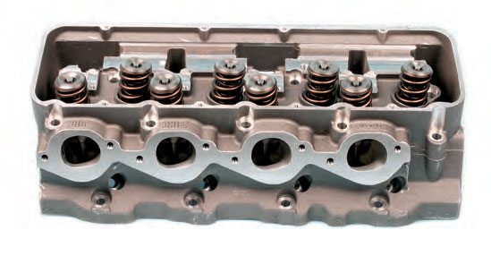 Symmetrical exhaust ports (big-block Chevy pattern on a Dart Big Chief II head).