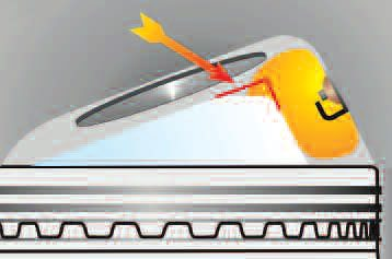A piston crown with an edge shape as indicated by the arrow can severely inhibit the passage of the flame through the mixture. To make the most of the CR being used, the flame front must progress rapidly and in an unobstructed manner through the charge.