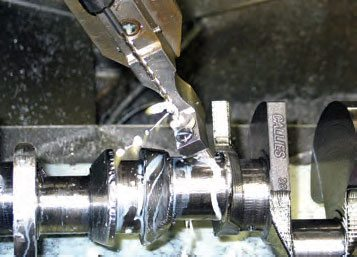 Oil passages at rod pins and mains are drilled using calibrated-angle fixtures.