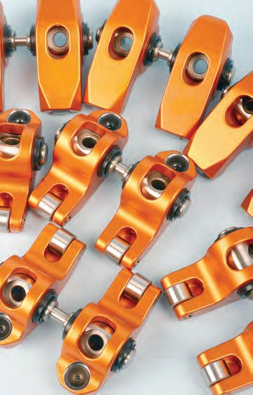 Full-roller rockers made from forged aluminum billets that are CNC machined provide lighter weight and high strength. Pictured here is a set from Harland-Sharp for the GM LS engine.
