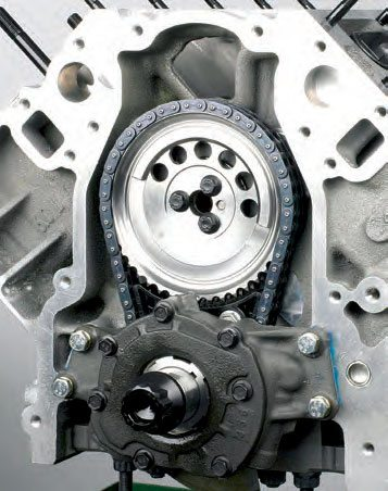 Depending on design, the timing set must be installed prior to pump installation. Pictured here is an LS2 short block. Note that the pump is mounted ahead of the timing gear.